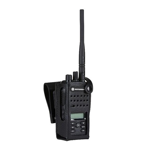 "Motorola - Hard Leather Case with 3"" Swivel Belt Loop for Display Radio"