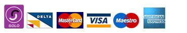 Visa, MasterCard, Delta, Solo, American Express and Maestro.